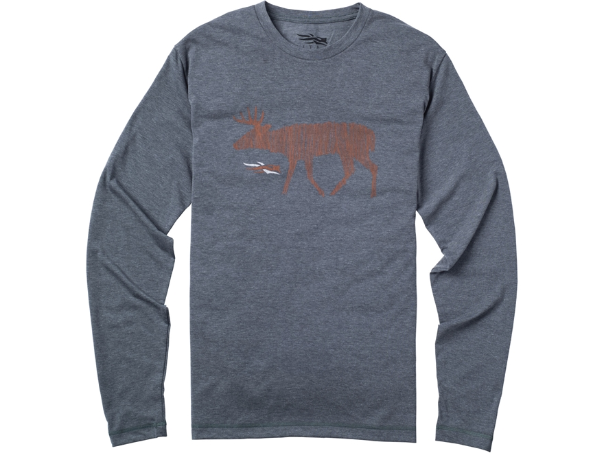 Sitka Gear Men's Deer Sketch T-Shirt Long Sleeve Polyester and Cotton Blend Lead