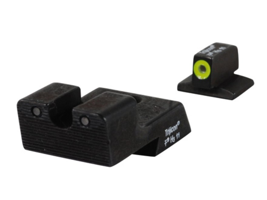 Trijicon HD Night Sight Set 1911 Novak Cut Steel Matte 3-Dot Tritium Green with Front D...