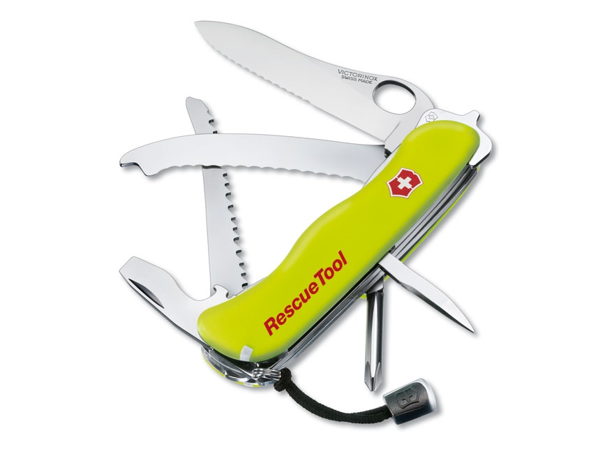 Victorinox Swiss Army Rescue Tool Folding Pocket Knife 12 Function Stainless Steel Blad...