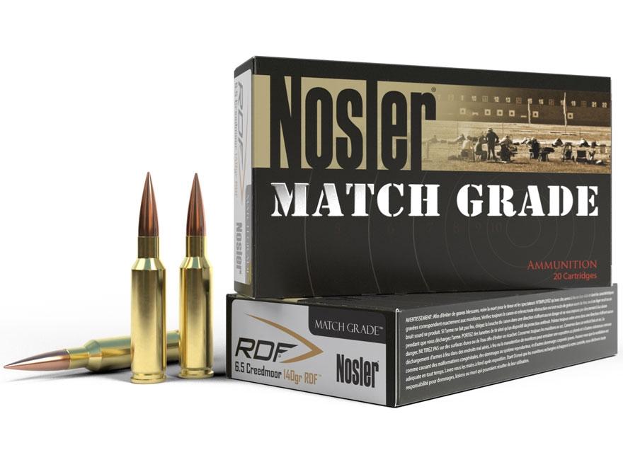 Nosler Match Grade Ammunition 6.5 Creedmoor 140 Grain RDF Hollow Point Boat Tail Box of 20