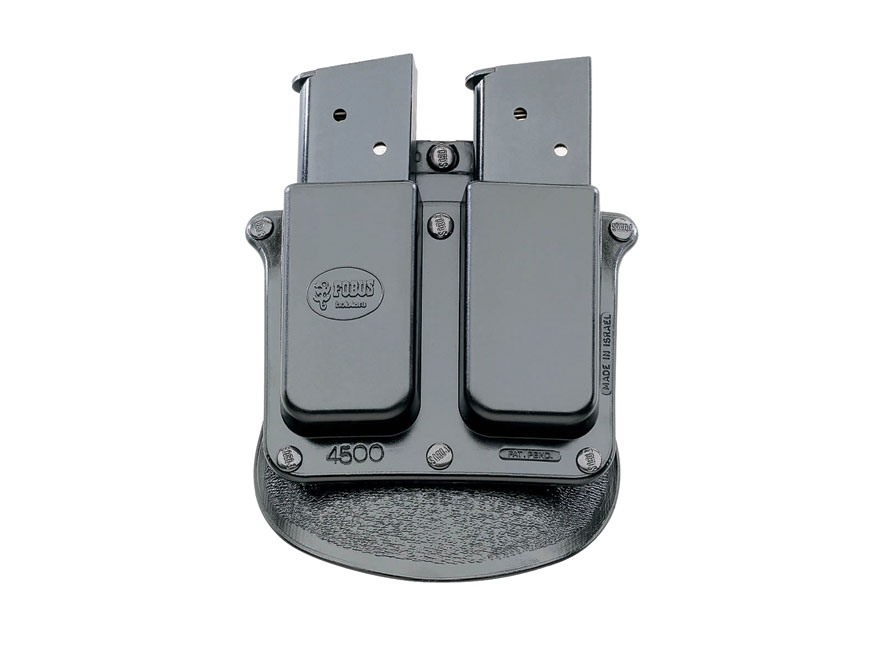 Fobus Paddle Double Magazine Pouch Single-Stack 9mm Luger or 45 ACP Polymer Black