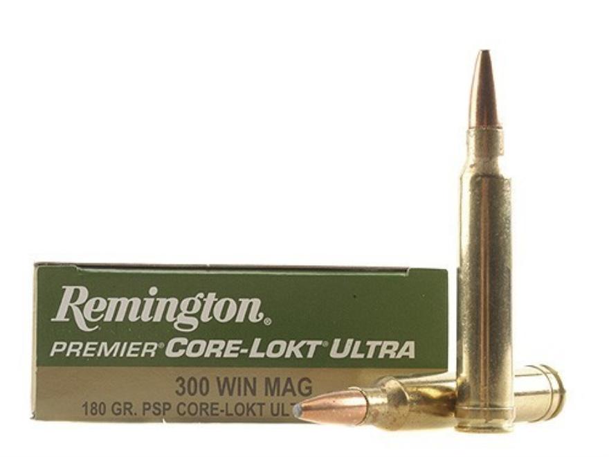 Remington Premier Ammunition 300 Winchester Magnum 180 Grain Core-Lokt Ultra Bonded Poi...