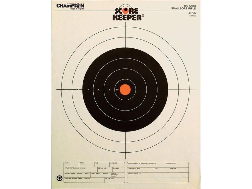 "Champion Score Keeper 100 Yard Small Bore Rifle Targets 14"" x 18"" Paper Orange Bull Pac..."