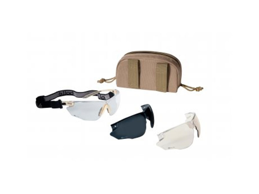 Bolle Tactical Shooting Glasses Combat Kit Black Frame Clear, Smoke and ESP Lenses