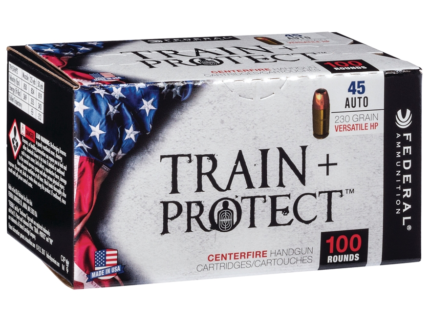 Federal Train + Protect Ammunition 45 ACP 230 Grain Versatile Hollow Point