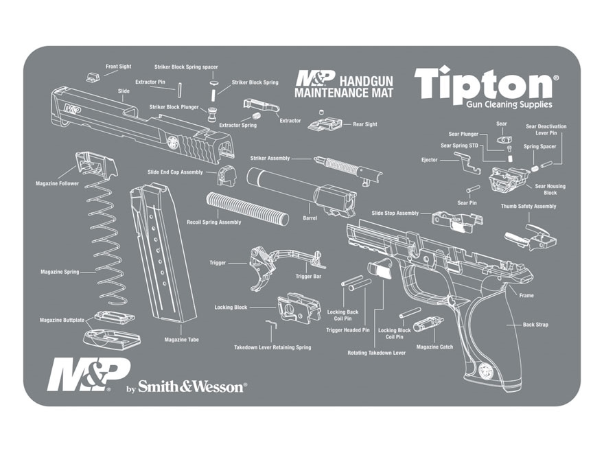 "Tipton S&W M&P Gun Cleaning and Maintenance Mat 11"" x 17"" Gray"