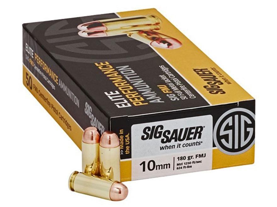 Sig Sauer Elite Performance Ammunition 10mm Auto 180 Grain Full Metal Jacket Box of 50