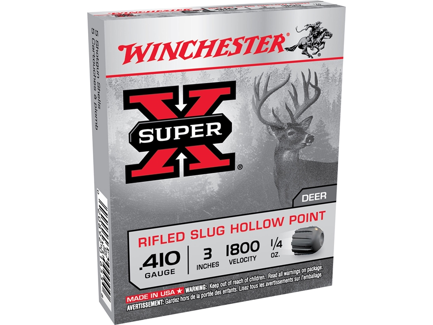 "Winchester Super-X Ammunition 410 Bore 3"" 1/4 oz Rifled Slug Box of 5"