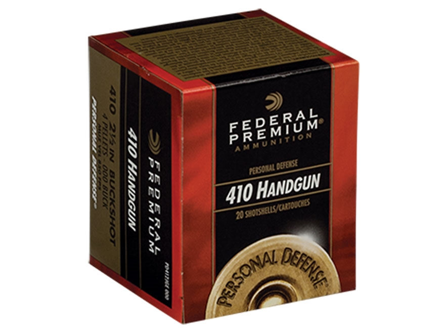 "Federal Premium Personal Defense Ammunition 410 Bore 2-1/2"" 000 Buckshot 4 Pellets Box ..."