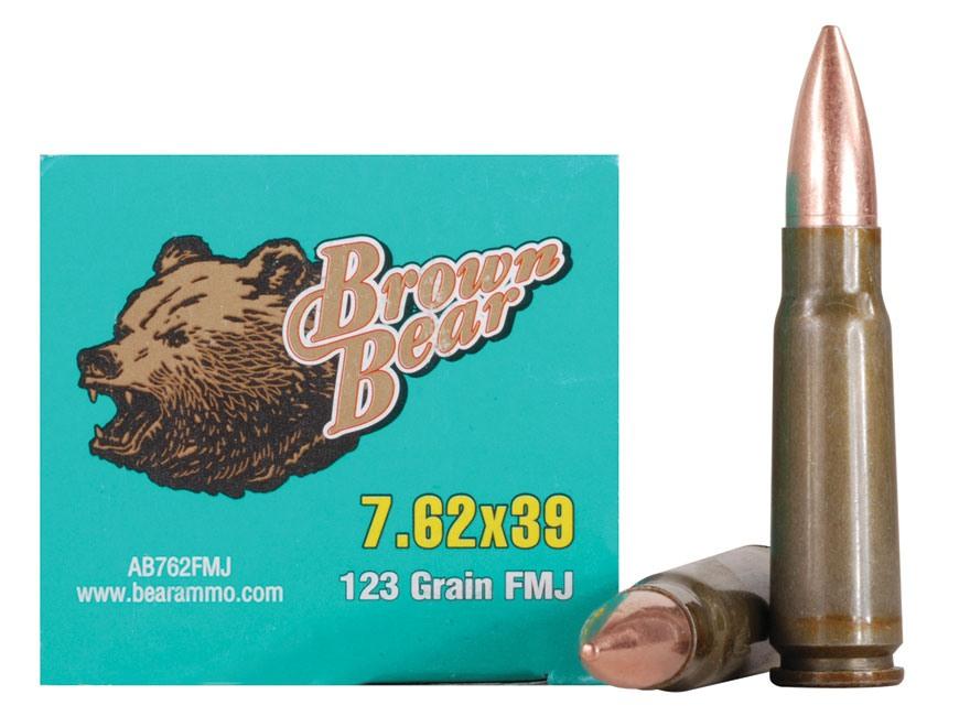 Brown Bear Ammunition 7.62x39mm 123 Grain Full Metal Jacket (Bi-Metal) Box of 20