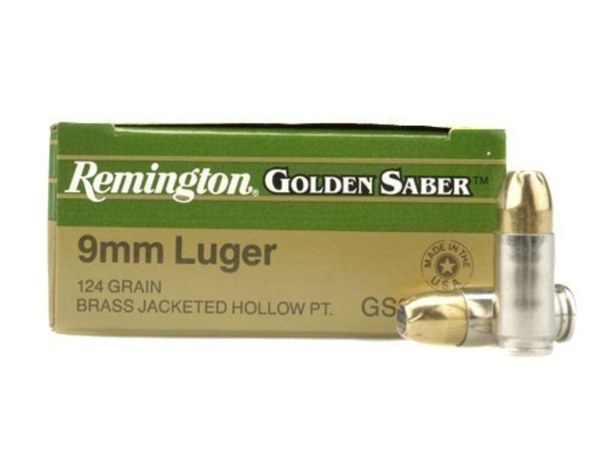 Remington Golden Saber Ammunition 9mm Luger 124 Grain Brass Jacketed Hollow Point Box o...