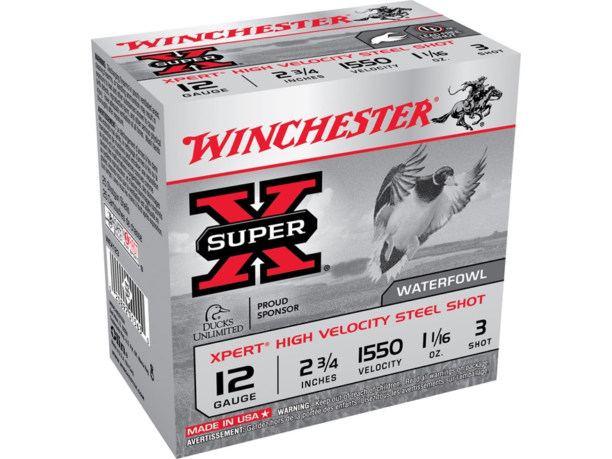 "Winchester Xpert High Velocity Ammunition 12 Gauge 2-3/4"" 1-1/16 oz #3 Non-Toxic Steel ..."