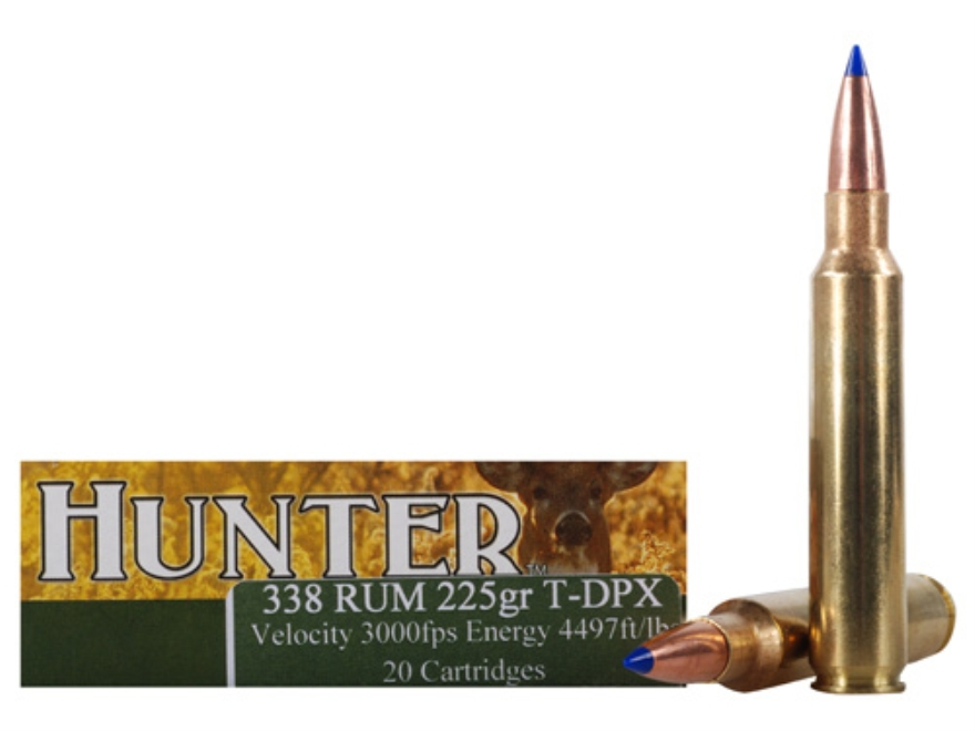 Cor-Bon DPX Hunter Ammunition 338 Remington Ultra Magnum 225 Grain Tipped DPX Lead-Free...