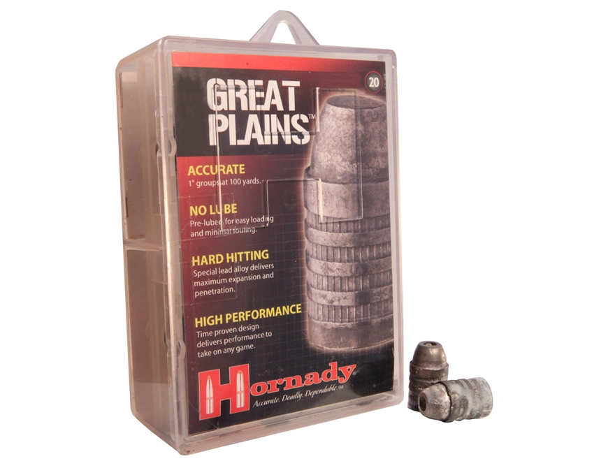 Hornady Great Plains Muzzleloading Bullets 50 Caliber 385 Grain Lead Hollow Point Box o...