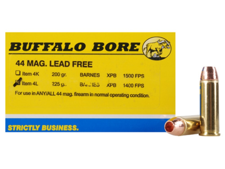 Buffalo Bore Ammunition 44 Remington Magnum 225 Grain Barnes XPB Copper Hollow Point Le...