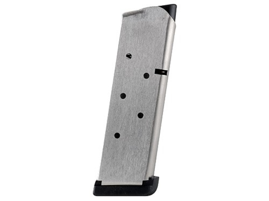 Les Baer Custom Magazine with Base Pad 1911 Officer 45 ACP 7-Round Stainless Steel