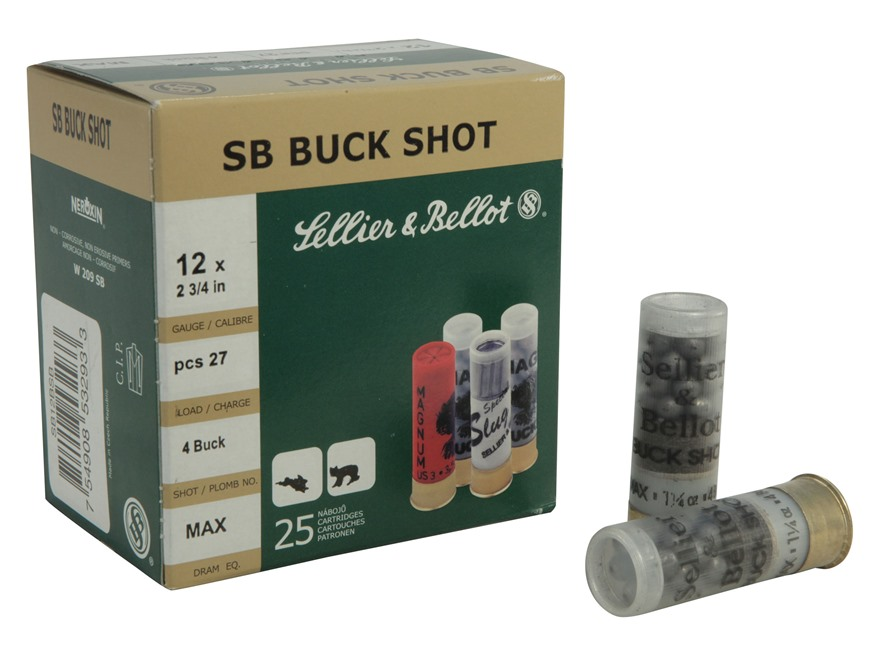 "Sellier & Bellot Ammunition 12 Gauge 2-3/4"" #4 Buckshot 27 Pellets"