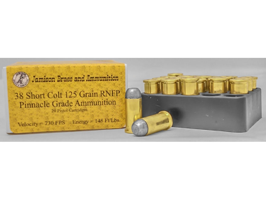 Jamison Ammunition 38 Short Colt 125 Grain Round Nose Flat Point Box of 20