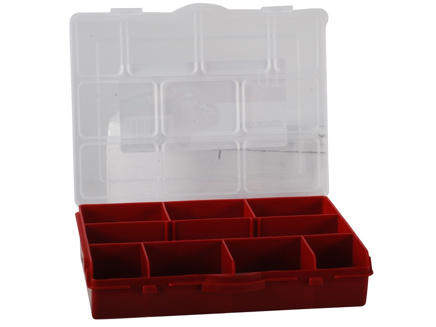 Stack-On Parts Storage Organizer 10-Compartment Red With Clear Lid