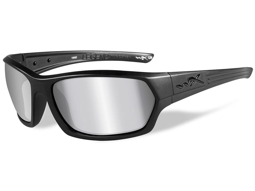 Wiley X Legend Sunglasses Matte Black Frame and Silver Flash Mirror Lens