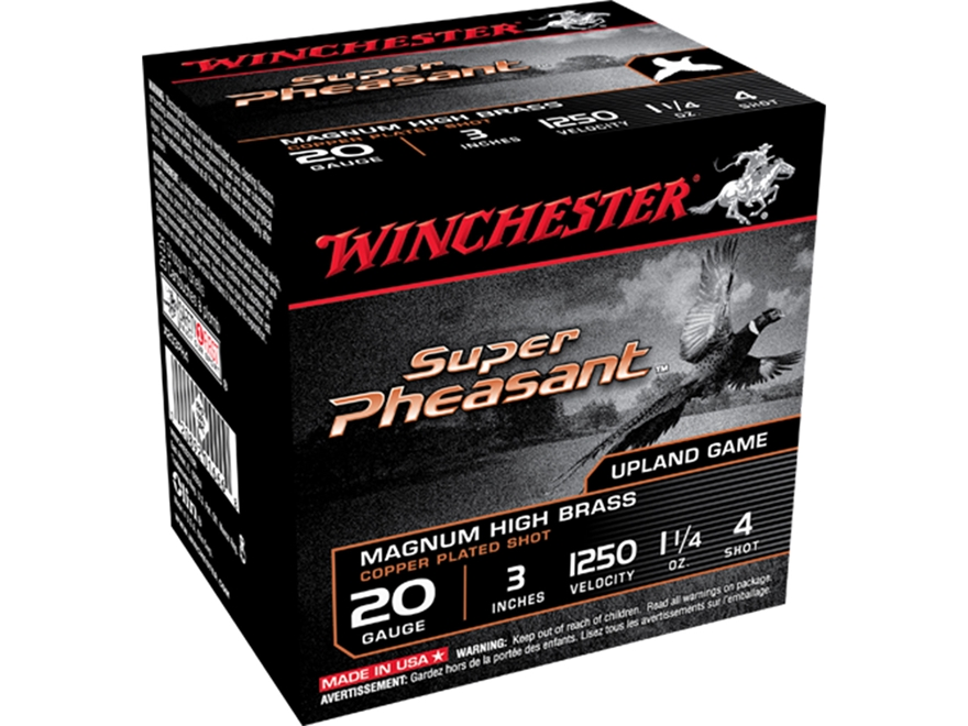 "Winchester Super-X Super Pheasant 20 Gauge 3"" 1-1/4 oz #4 Copper Plated Shot"