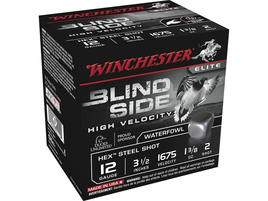 "Winchester Blind Side High Velocity Ammunition 12 Gauge 3-1/2"" 1-3/8 oz #2 Non-Toxic St..."