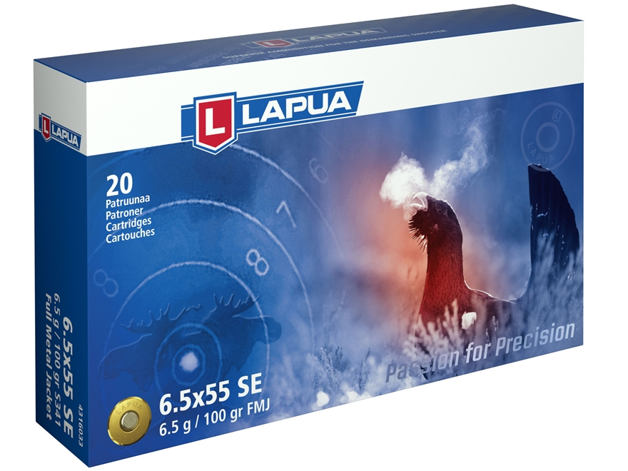 Lapua Ammunition 6.5x55mm Swedish Mauser 100 Grain Full Metal Jacket Box of 20
