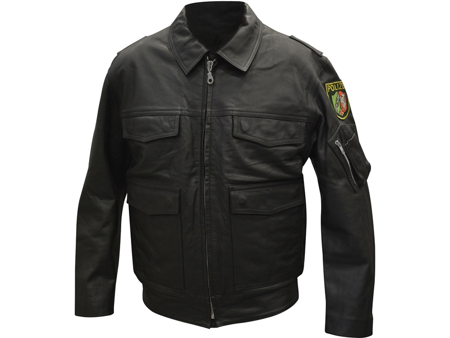 Military Surplus German Police Jacket Leather Black