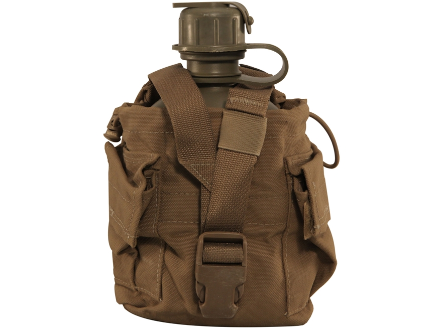 Military Surplus 1-Quart Canteen with MOLLE II Carrier Grade 3 Coyote