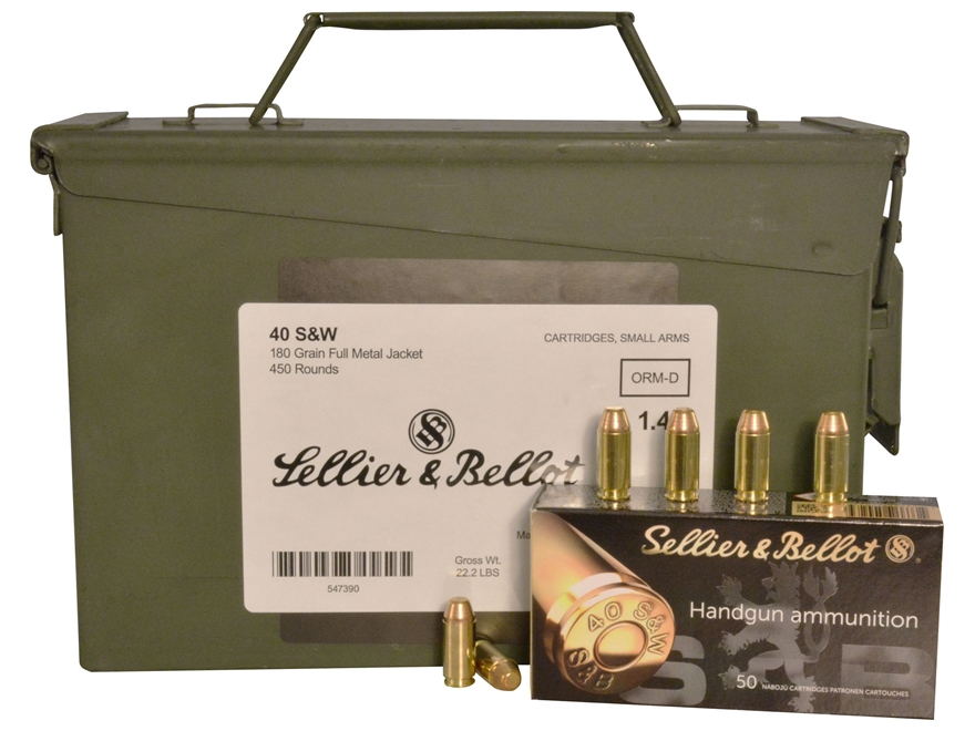 Sellier & Bellot Ammunition 40 S&W 180 Grain Full Metal Jacket Ammo Can of 450 (9 Boxes...