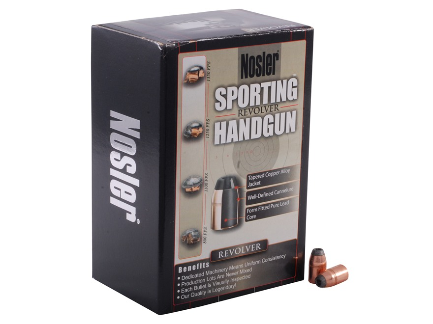 Nosler Sporting Handgun Bullets 38 Caliber (357 Diameter) 158 Grain Jacketed Hollow Poi...