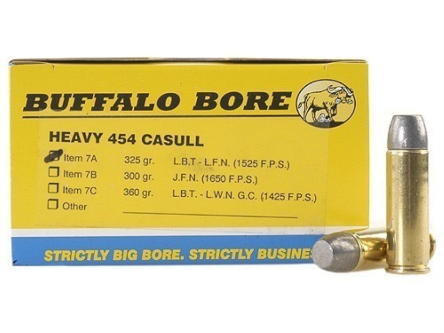 Buffalo Bore Ammunition 454 Casull 325 Grain Lead Flat Nose Box of 20