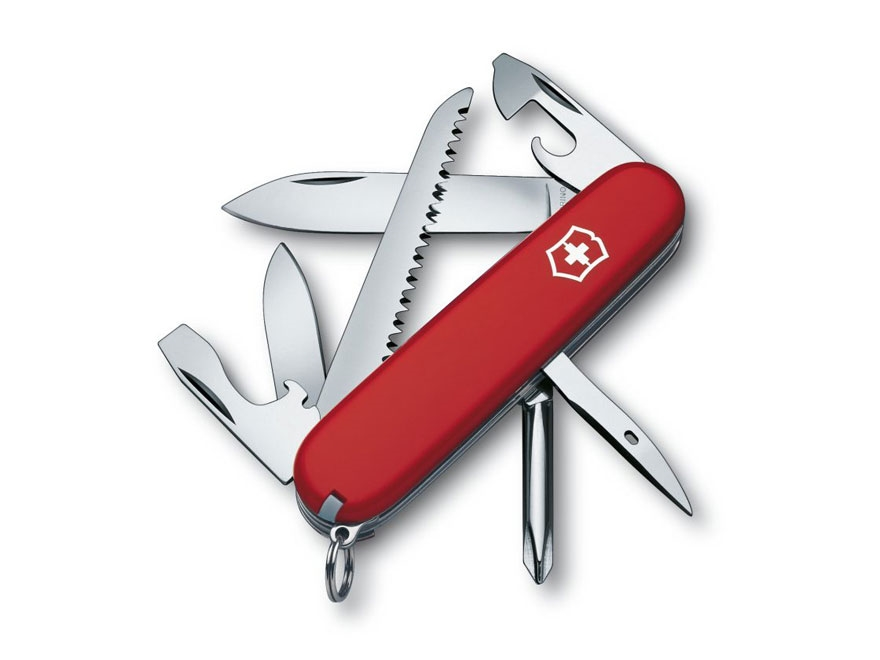 Victorinox Swiss Army Hiker Folding Pocket Knife 13 Function Stainless Steel Blade Poly...