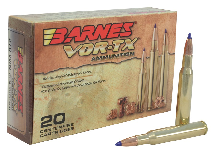 Barnes VOR-TX Ammunition 270 Winchester 130 Grain Tipped Triple-Shock X Bullet Boat Tai...