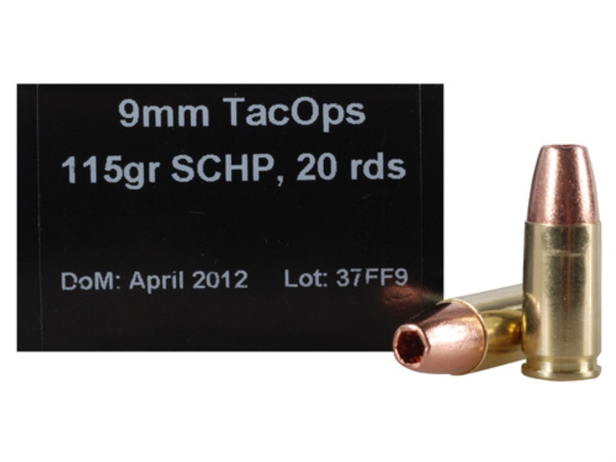 PNW Arms TacOps Ammunition 9mm Luger 115 Grain Solid Copper Hollow Point Lead-Free Box ...