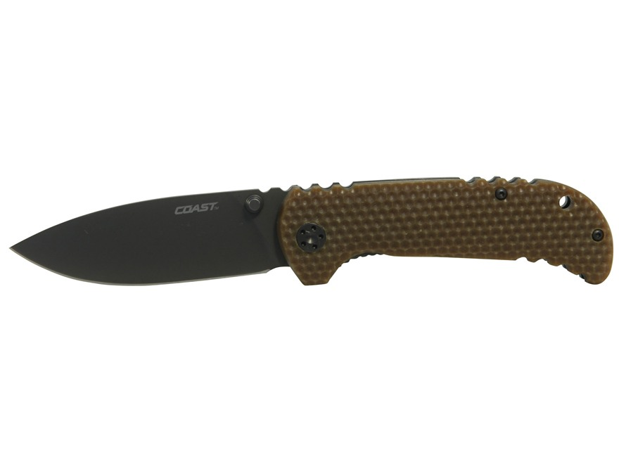 "Coast FX350 Folding Tactical Knife 3.5"" Spear Point 9Cr18MoV Stainless Steel Blade G-10..."