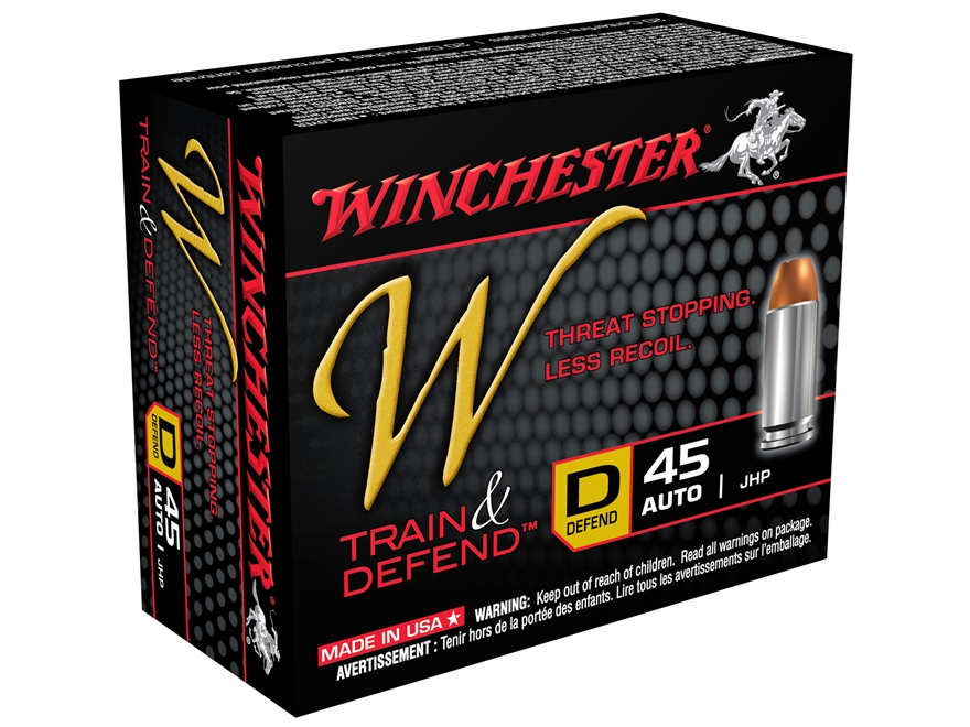 Winchester W Defend Reduced Recoil Ammunition 45 ACP 230 Grain Jacketed Hollow Point