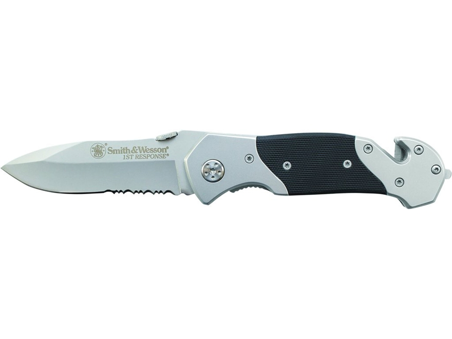 "Smith & Wesson 1st Response Folding Pocket Knife 3.3"" Drop Point 7Cr17 High Carbon Stai..."