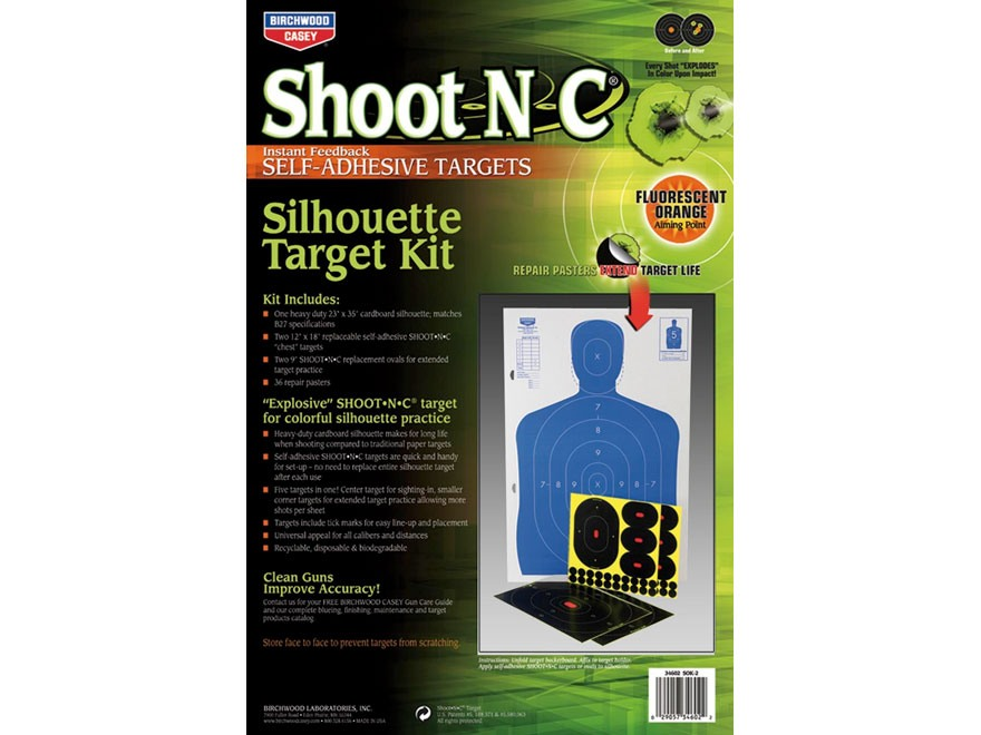 "Birchwood Casey Shoot-N-C 12"" x 18"" Silhouette Targets Kit (2 - 12"" x 18"", 2 - 9"", 6 - 4"")"