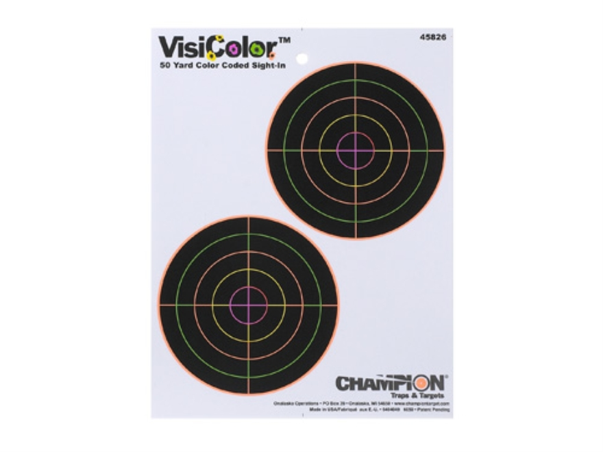 "Champion VisiColor 5"" Bullseye Targets 8.5"" x 11"" Paper Package of 10"