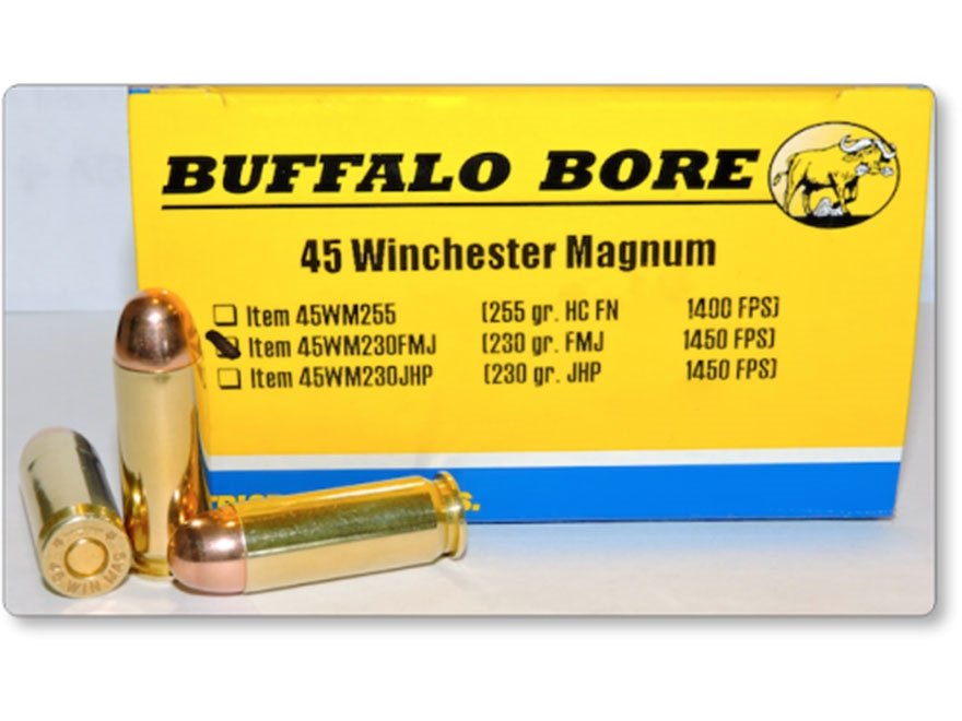 Buffalo Bore Ammunition 45 Winchester Magnum 230 Grain Full Metal Jacket Box of 20