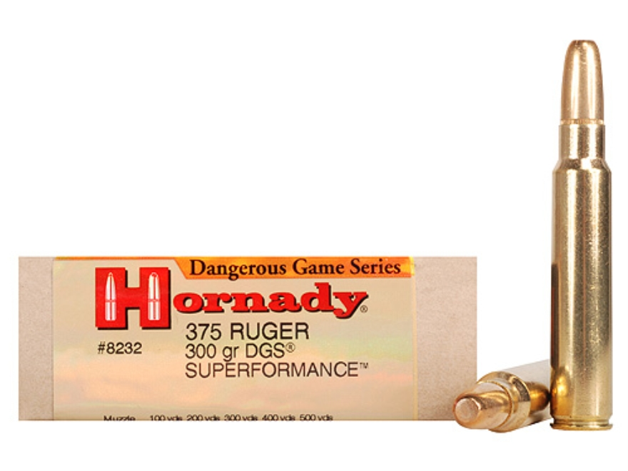 Hornady Dangerous Game Superformance Ammunition 375 Ruger 300 Grain Round Nose Solid Bo...