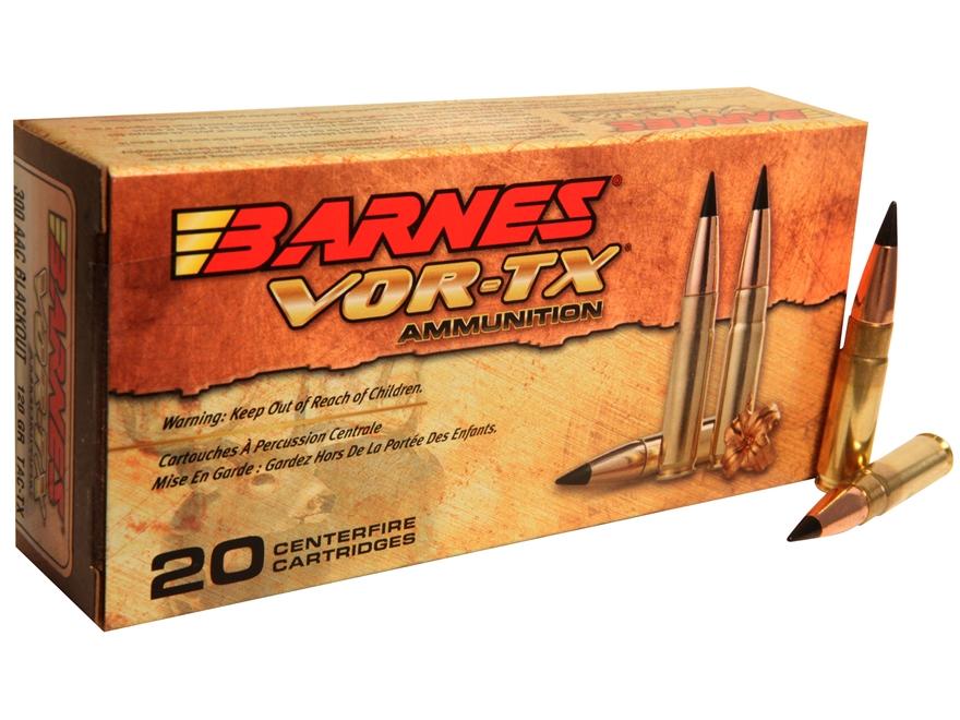 Barnes VOR-TX Ammunition 300 AAC Blackout 120 Grain TAC-TX Tipped Flat Base Lead-Free B...