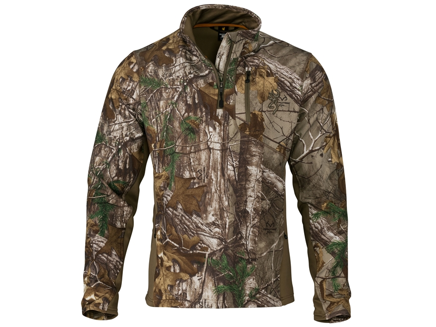 Browning Men's Hell's Canyon Ajax Scent Control Midweight 1/4 Zip Pullover Polyester