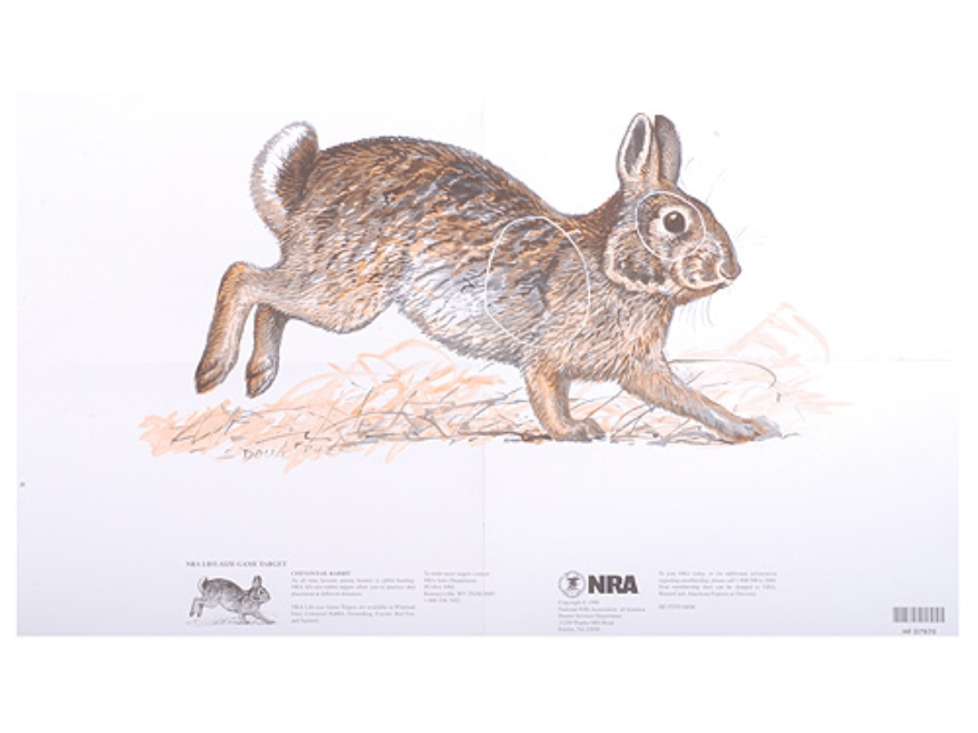 NRA Official Lifesize Game Targets Cottontail Rabbit Paper Pack of 50