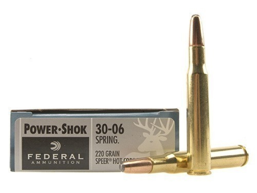 Federal Power-Shok Ammunition 30-06 Springfield 220 Grain Speer Hot-Cor Soft Point Box ...