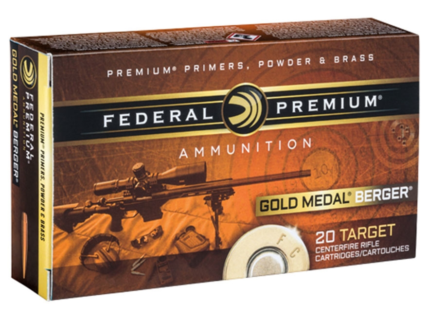 Federal Premium Gold Medal Berger Ammunition 6.5 Creedmoor 130 Grain Berger Hybrid Open...
