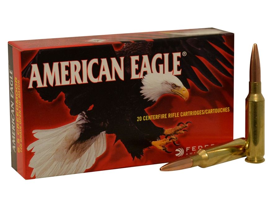 Federal American Eagle Ammunition 6.5 Creedmoor 140 Grain Open Tip Match Box of 20