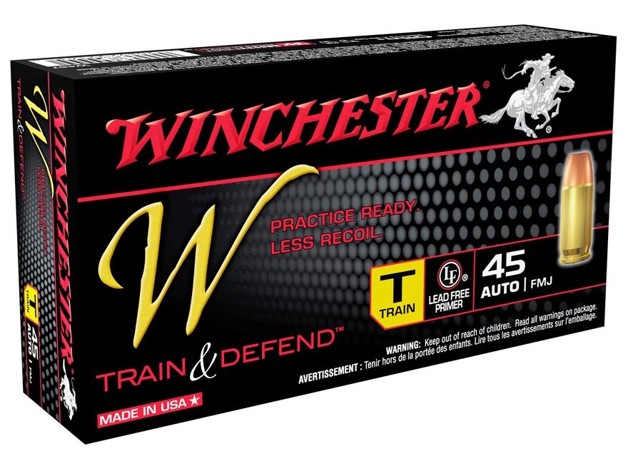Winchester W Train Reduced Recoil Ammunition 45 ACP 230 Grain FMJ Box of 50