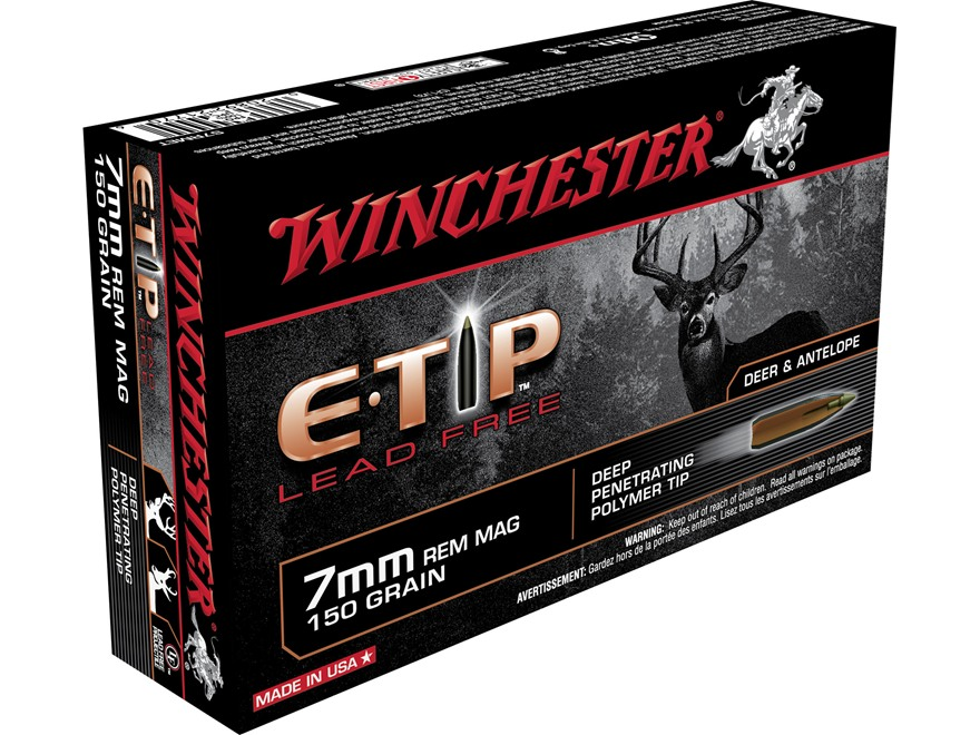 Winchester E-Tip Ammunition 7mm Remington Magnum 150 Grain Lead-Free Polymer Tip
